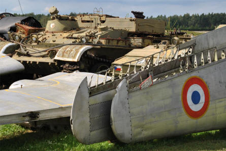 Some of the many panzer and aircraft parts displayed at the Air Park of Zruč - Plzen.