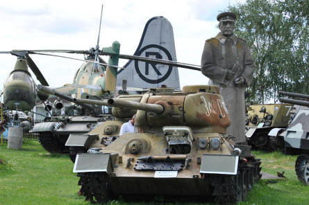 Some of the many tanks and helicopters displayed at the Air Park of Zruč - Plzen.