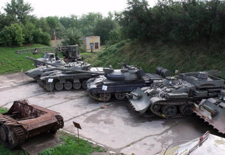 Some of the many more modern tanks displayed at the Rokycany Demarcation Line Museum.