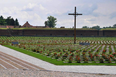 The memorial and cemetery outside the Theresienstadt Concentration Camp in Terezin.