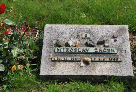 One of the graves at cemetery outside the Theresienstadt Concentration Camp in Terezin.