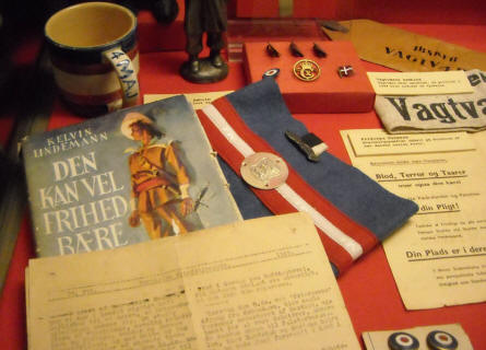 A small part of the World War II occupation exhibition at Bornholm Museum. The arm band was used by the Danish freedom fighters in the days after the liberation.