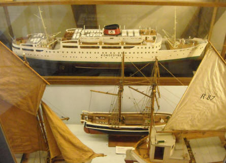 Some of the many ship models that are a part of the maritime heritage collection at Bornholm Museum.