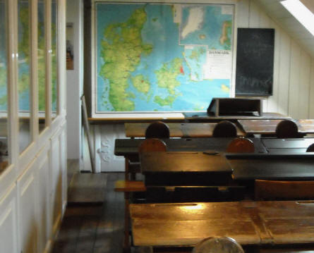 An old class room at the Bornholm Museum.