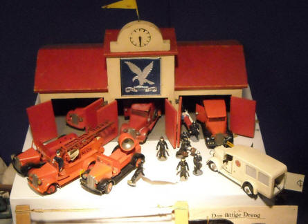 A fire and rescue station is a part of the historic toy exhibition at the Bornholm Museum.