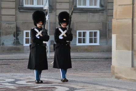 The Royal Palace Guard is on duty 24x7 at the Amalienborg Royal Castle in Copenhagen. Here in their normal uniform.