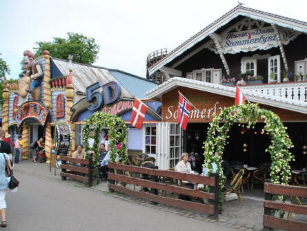 Restaurants and amusements are mixed all together at Bakken Amusement Park - Copenhagen.