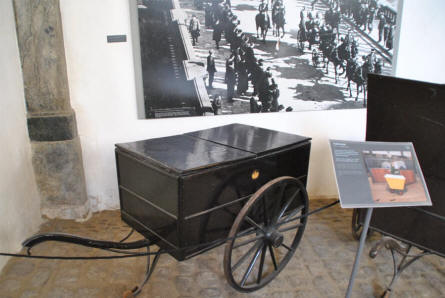 One of the old stable wagons displayed at the Museum Royal Stables and Carriages in Copenhagen.