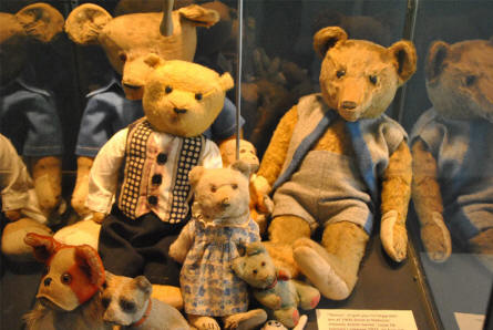 Some of the many classic Teddy bears displayed as a part of the toys collection at the main branch of the Danish National Museum.