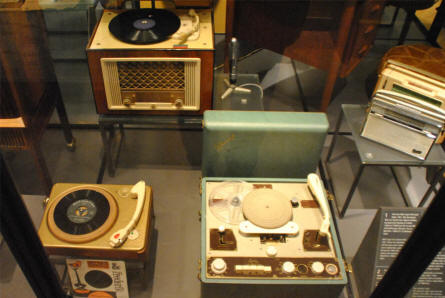 Some of the more modern technology displayed at the main branch of the Danish National Museum. Two gramophones and a tape recorder from the 1960's.