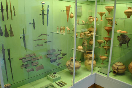 Some of the many ancient swords, axes and pottery items displayed at the main branch of the Danish National Museum.