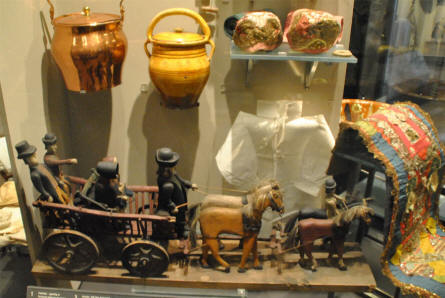 Some of the many household items from the 1800's and the beginning of the 1900's a displayed at the main branch of the Danish National Museum.