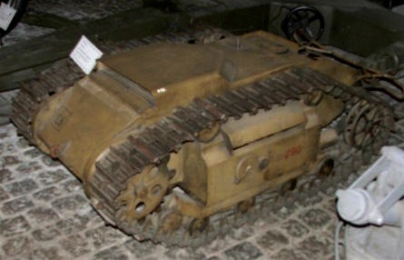 A German mini tank (a mine on tracks) from World War II displayed at the Danish Defence Museum (Tøjhusmuseet).