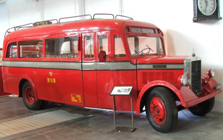 An old bus used by DSB on display at the Danish Railway Museum in Odense