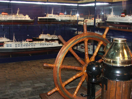 A display at the Danish Railway Museum showing some of the many railway ferries that have been used to connect the different parts of Denmark.