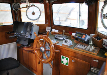 "The interior of the minesweeper ""Askø"" MHV 81 displayed at the Langeland Fortress."