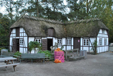 One of the small historic houses at Odense Zoo.