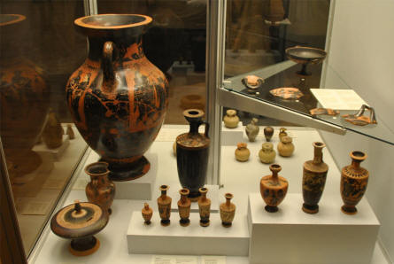 Some of the ancient pottery displayed at the Museum of Ancient Art at the Aarhus University.