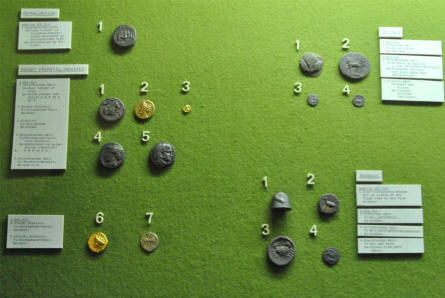 Some of the ancient coins displayed at the Museum of Ancient Art at the Aarhus University.