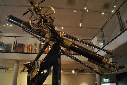 One of the large vintage telescopes displayed as a part of the science history collection at the Steno Museum in Aarhus.