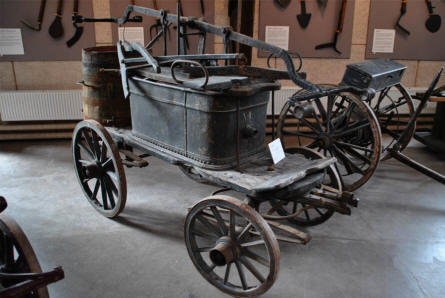 One of the vintage horse-drawn fire fighting wagons displayed at the Stenvad Peat Digging Museum.
