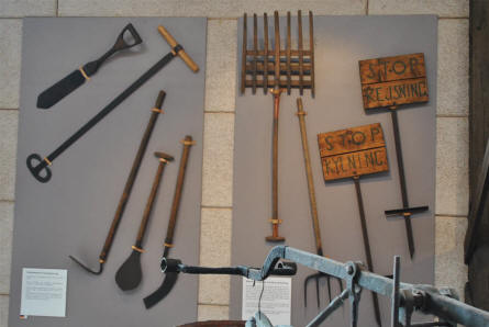 Some of the vintage peat digging tools displayed at the Stenvad Peat Digging Museum.