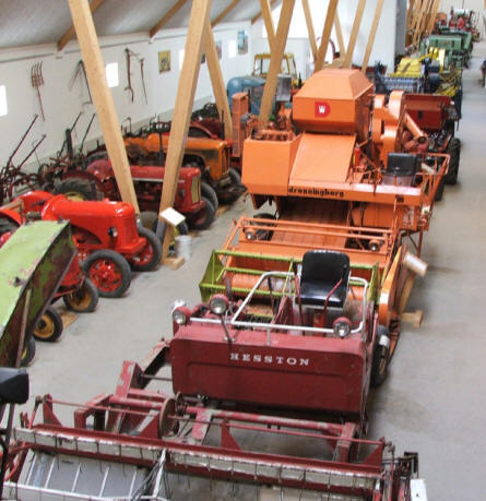 A small part of the many tractors, harvesters etc that is displayed at Gl. Estrup agricultural museum.