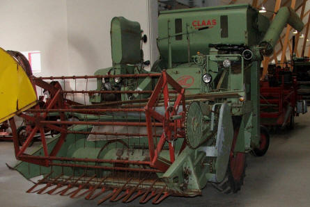 One of the harvesters displayed at Gl. Estrup Agricultural Museum.