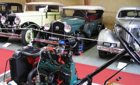 Buick, Plymouth, Adler from before World War II on display at Jysk Automobile Museum