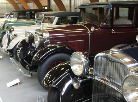Some of the many beautiful old automobiles that are displayed at Jysk Automobile Museum.