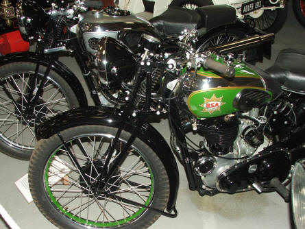 An old BSA motorcycle at Jysk Automobile Museum.