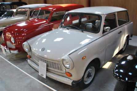 A classic East German Trabant 1.1 Universal displayed at the Jysk Automobile Museum.