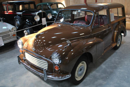 A classic Morris Minor 1000 Traveller displayed at the Jysk Automobile Museum.