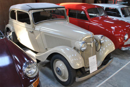 A 1937 Adler Trumpf Junior displayed at the Jysk Automobile Museum.