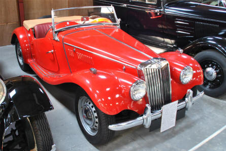 A classic 1954 MG T. F. 1250 displayed at the Jysk Automobile Museum.