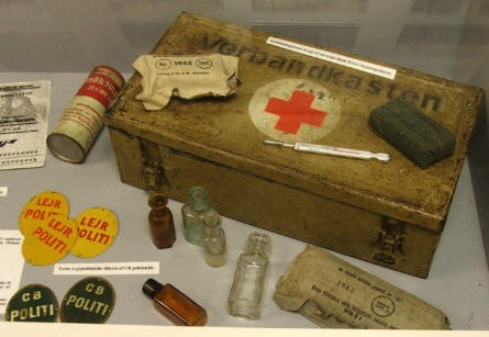 German World War II first aid kit at the Bunker Museum in Silkeborg.