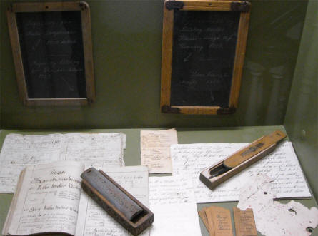 Some of the vintage school items displayed at Silkeborg Museum.