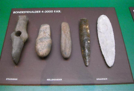 Some of the many Stone age items displayed at Silkeborg Museum.