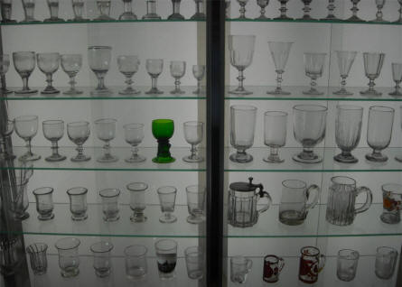 A small part of the large glass collection displayed at Silkeborg Museum.