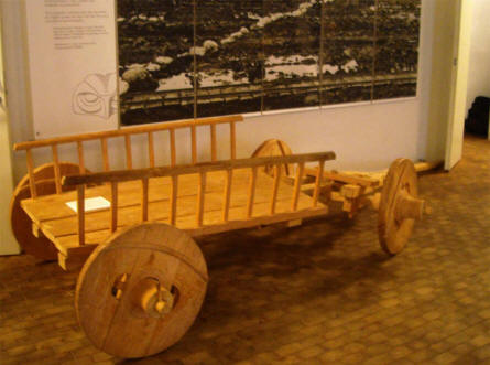 A replica of a Viking age wagon displayed at Silkeborg Museum.
