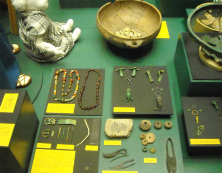 Some of the many Bronze and Viking age items displayed at Silkeborg Museum.