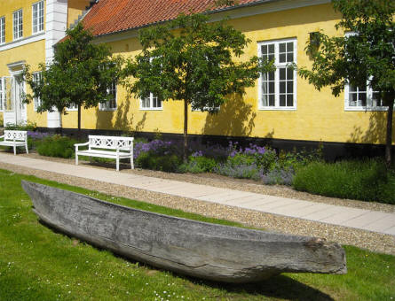 A replica of a Stone age canoe displayed at Silkeborg Museum.