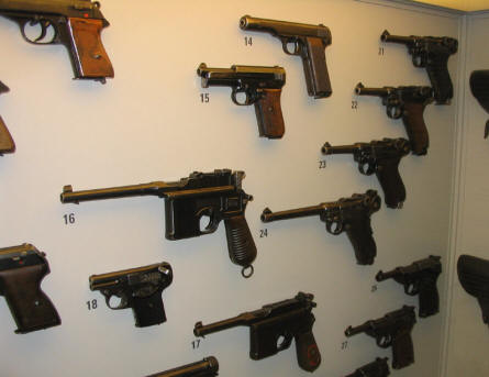 German World War II pistols at the Occupation Museum in Skanderborg.