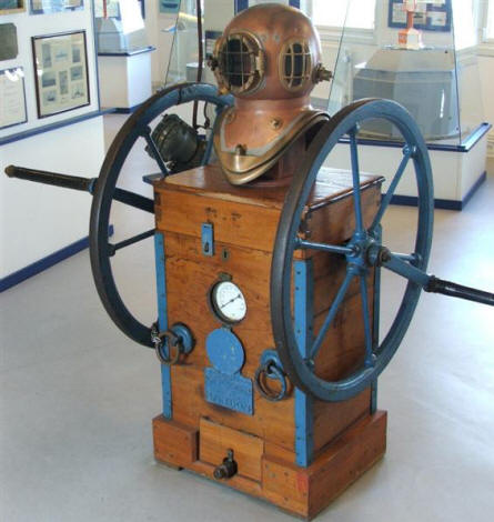 Old diving equipment displayed at the Maritime museum in Aalborg