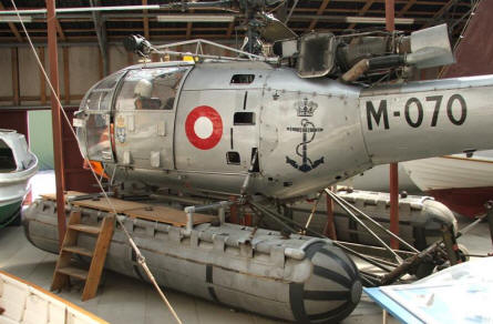 An Alouette III helicopter used by the Danish Navy displayed at the Maritime Museum in Aalborg.