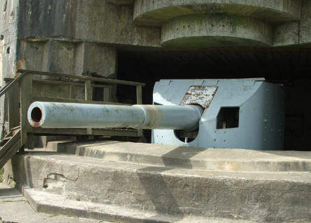 A German World War II bunker with a Danish 15 cm gun at the Bangsbo Fortress in Frederikshavn.