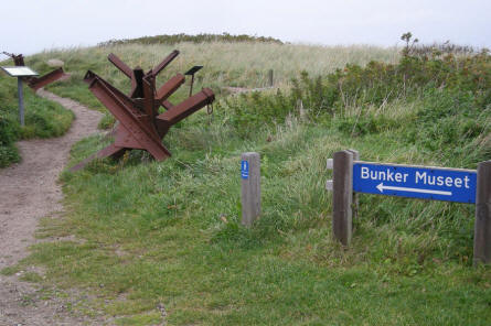 Road sign showing the way to the Atlantic Wall bunker complex in Hirtshals.