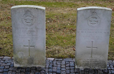 The graves of two of the World War II Royal Air Force pilots buried at the Frederikshavn War Cemetery.