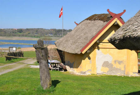 One of the Viking houses at the Fyrkat Viking Centre in Hobro. The houses are replicas of old Viking houses.