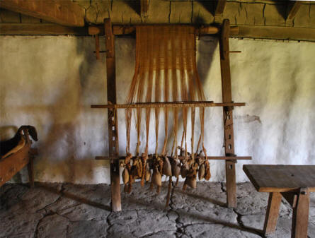 A Viking age upright loom can be seen in one of the Viking houses at the Fyrkat Viking Centre in Hobro.